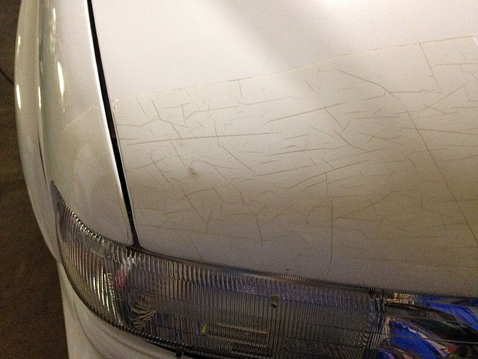 This is an example of old, weathered 3M Clearshield paint protection film.